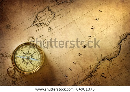 old compass on vintage map 18 centuries - stock photo
