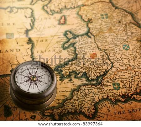 old compass on vintage map (Heptarchja Anglo-Saxonum Jan Jansson 1646) - stock photo