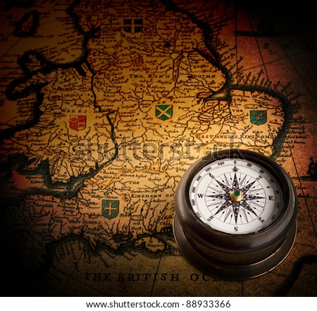 old compass on vintage map (Heptarchja Anglo-Saxonum Jan Jansson 1646) - stock photo