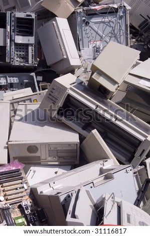 Old computer and technology garbage - stock photo