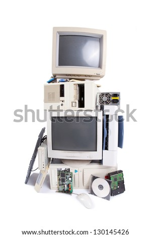 old computer components - stock photo