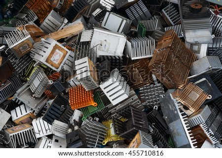 Old computer cooling radiators - stock photo
