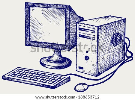 Old computer. Doodle style. Raster version - stock photo