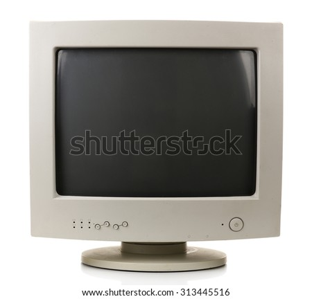 Old computer monitor isolated on white - stock photo