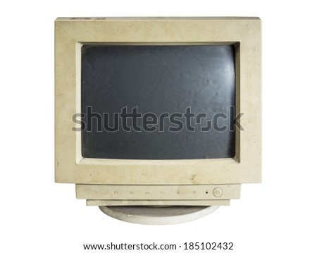 old computer monitor isolated on white background - stock photo