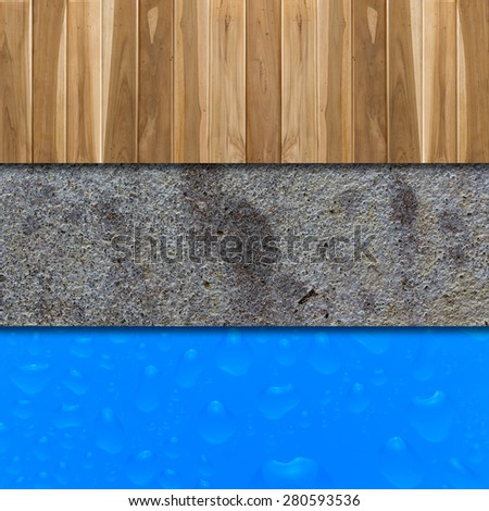 Old concrete wall corrosion and Wood floor, white blue water drop - stock photo
