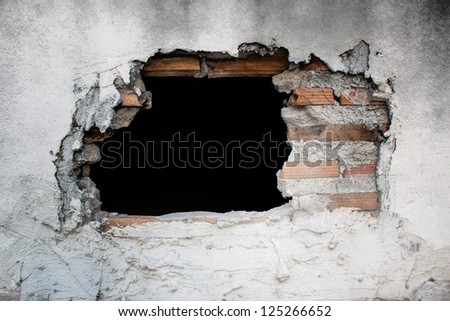 Old Concrete Wall With Broken Tiles,Use As Horror Scene - stock photo