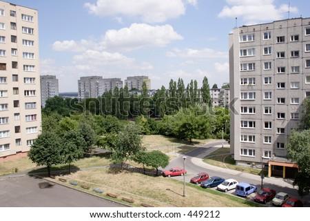 Old condominiums in Poland - stock photo