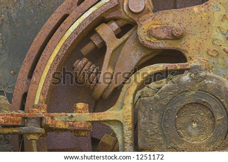 Old construction brake gear that is rusting - stock photo