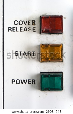 old control panel;  red yellow green button; - stock photo