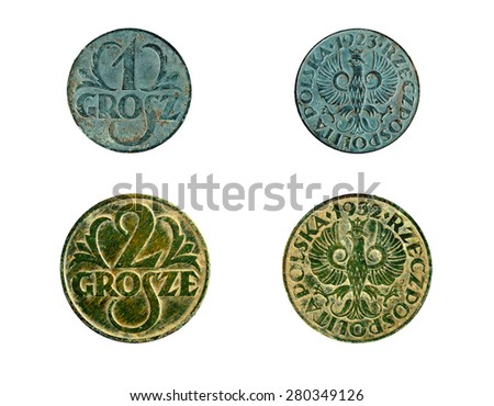 old copper coins Polish - stock photo