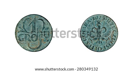 old copper coins Polish, 1 grosh 1923 - stock photo