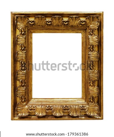 Old copper picture frame. Isolated over white background, for photo or picture    - stock photo