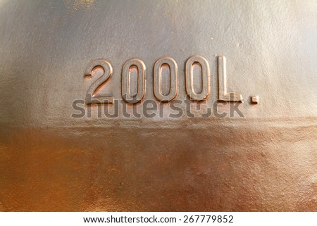 Old copper wine tank background.