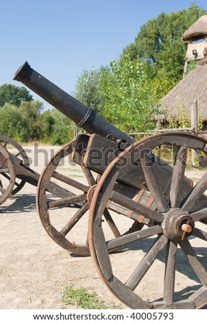 old cossack's field cannon - stock photo