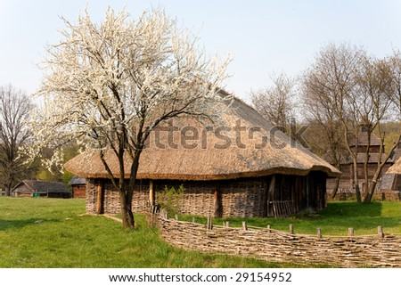 Old country house made from wood - stock photo