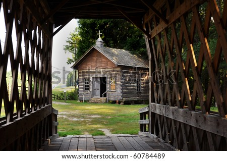 Old Country Log Church. - stock photo