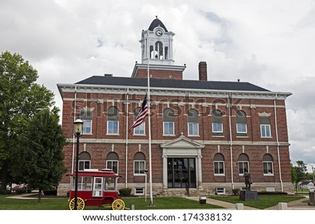 Old courthouse in Marshall, Clark County, Illinois, United States