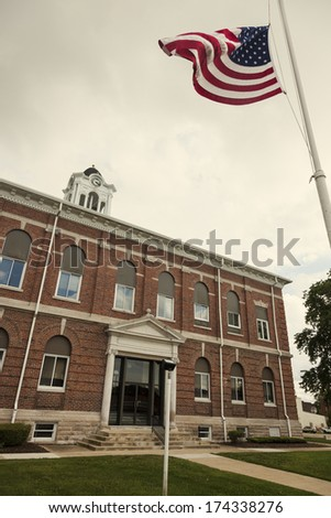 Old courthouse in Marshall, Clark County, Illinois, United States - stock photo