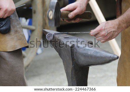 Old crafts, blacksmith at work.
