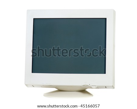 Old CRT monitor isolated on white