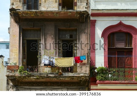 Old crumbling building in Havana - stock photo