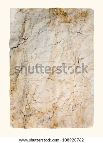Old crumpled paper texture, isolated - stock photo