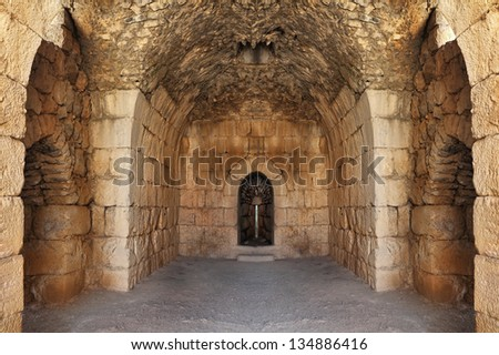 Old crusaders fortress inside. - stock photo