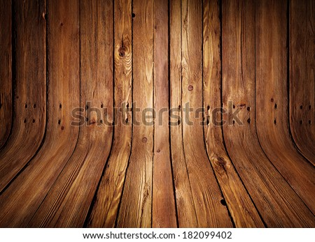 Old curved wooden background /  Grungy old curved wooden interior - stock photo