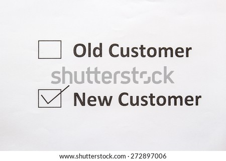 Old customer and new customeer text for check boxes - stock photo