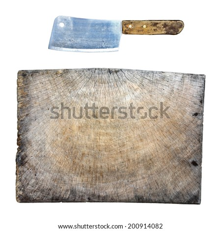 old cutting board with butchers knife isolated on white - stock photo