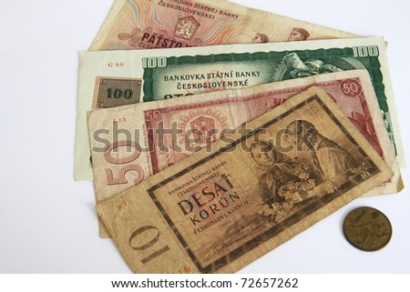 Old Czech paper money on white background - stock photo