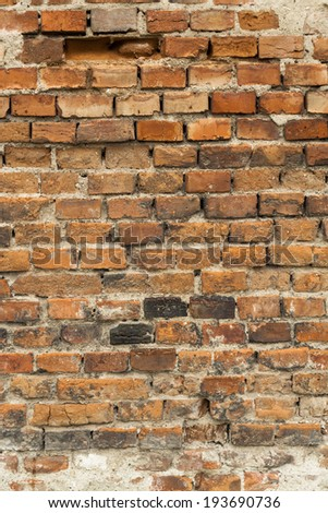 Old damaged aged Brick wall closeup backdrop  - stock photo