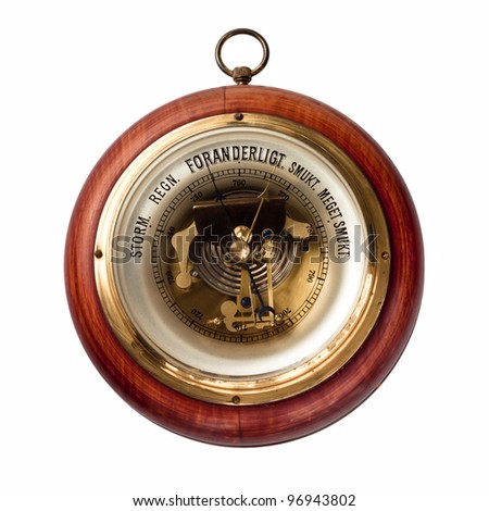 Old danish barometer of wood and brass - stock photo