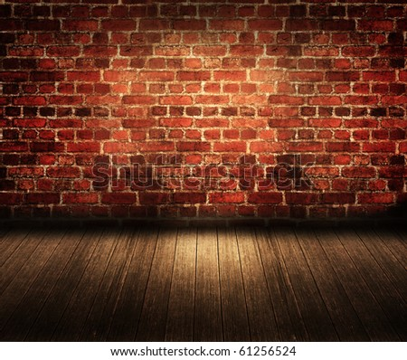 Old dark brick room - stock photo