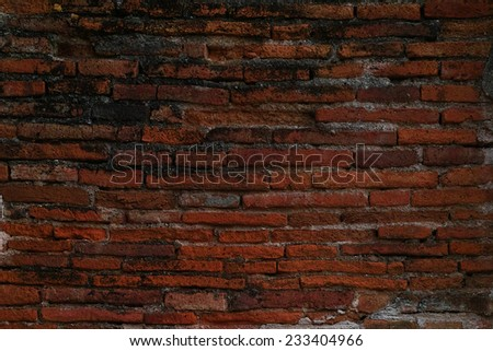 old dark brown and red brick wall background, grungy rusty blocks of stone work for texture and background