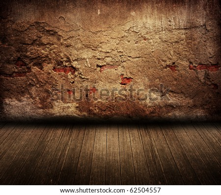 Old dark cracks cement room - stock photo