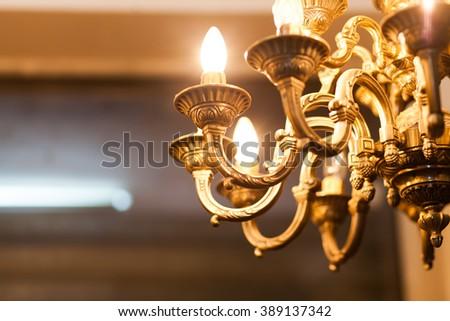 old decorative chandelier - stock photo