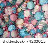 Old Decorative Christmas Cloth with Pastel-Colored Ornaments, Holly Leaves, and Evergreen Sprigs. - stock photo