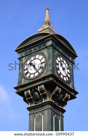 Old, decorative clock in famous Jewellery Quarter of Birmingham, England - stock photo