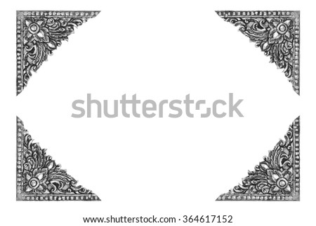 old decorative frame antique engraved silver background isolated on white background - stock photo