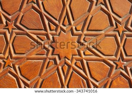 Old Decorative Islamic Wood Art Background - stock photo
