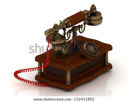 Old decorative telephone is covered with trees use in the years 1940-1980 - stock photo