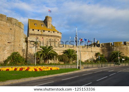 Old defensive walls of the city of St. Malo, France - stock photo
