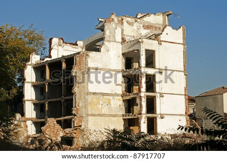 Old demolished building. White walls. Exterior - stock photo