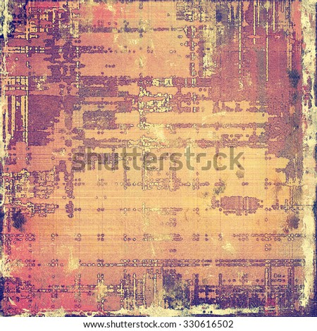 Old designed texture as abstract grunge background. With different color patterns: yellow (beige); brown; purple (violet); pink - stock photo