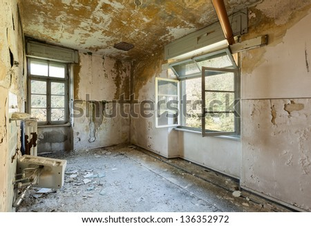 old destroyed building, room with window
