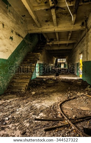 old destroyed factory  - stock photo