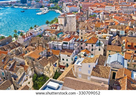 Old Diocletians palace in Split aerial view, Dalmatia, Croatia - stock photo