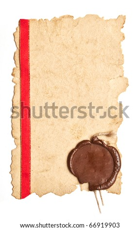 old diploma page with a red silk ribbon and wax seal - stock photo